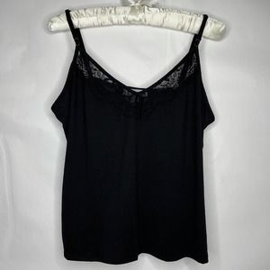In Bloom by Jonquil NWT Lace Trim Cami Large Black